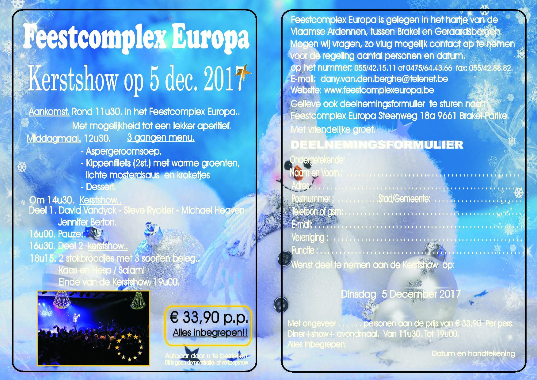 SHOWS 2017-2018.. Een Topper..!!   Kerstshow 5 December.  2017.   Reserveer nu… - Feestcomplex Europa